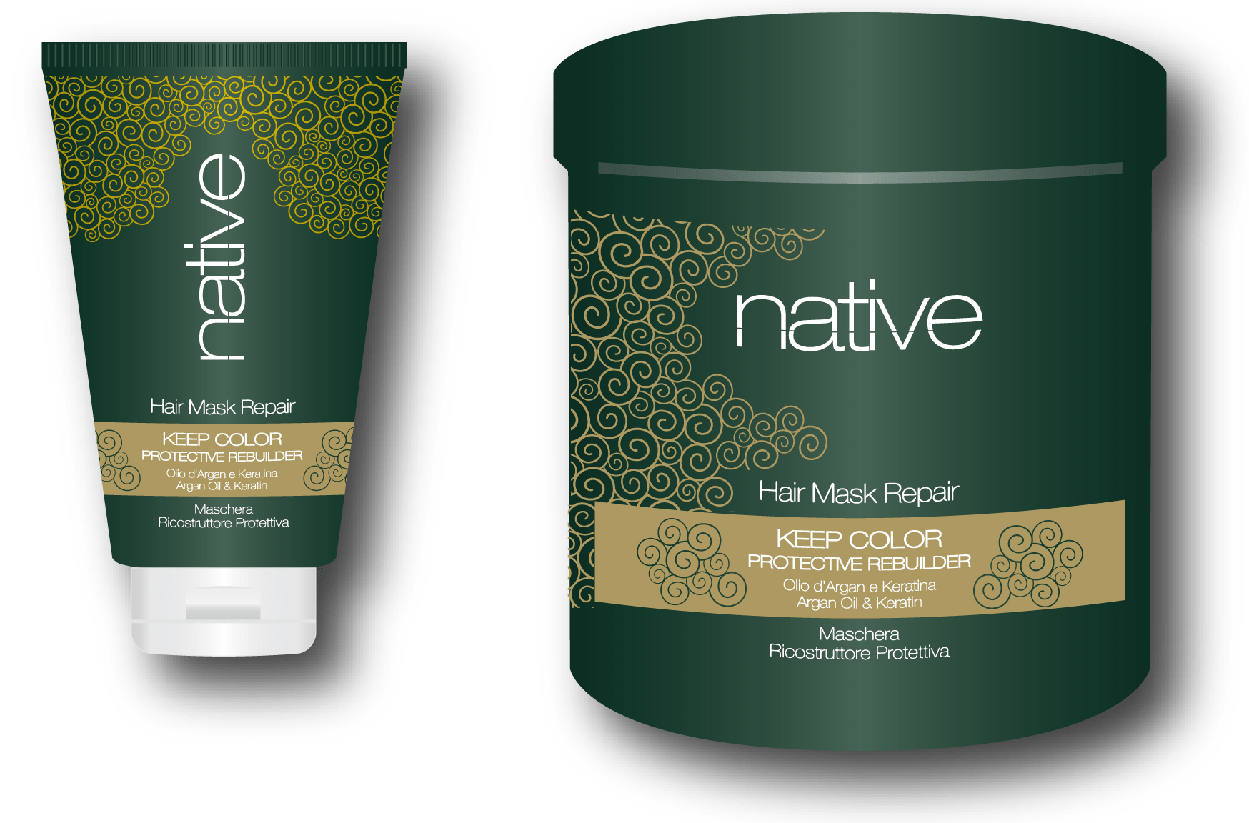 """<b>Native</b><br><p style=""""font-size:0.7em"""">Színrevitalizáló hajpakolás</p>"""